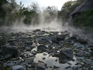 boiling river and steam